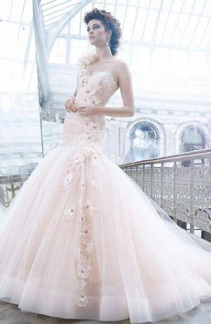 Bridal Gowns: Lazaro Mermaid Wedding Dress with Sweetheart Neckline and Dropped Waist Waistline