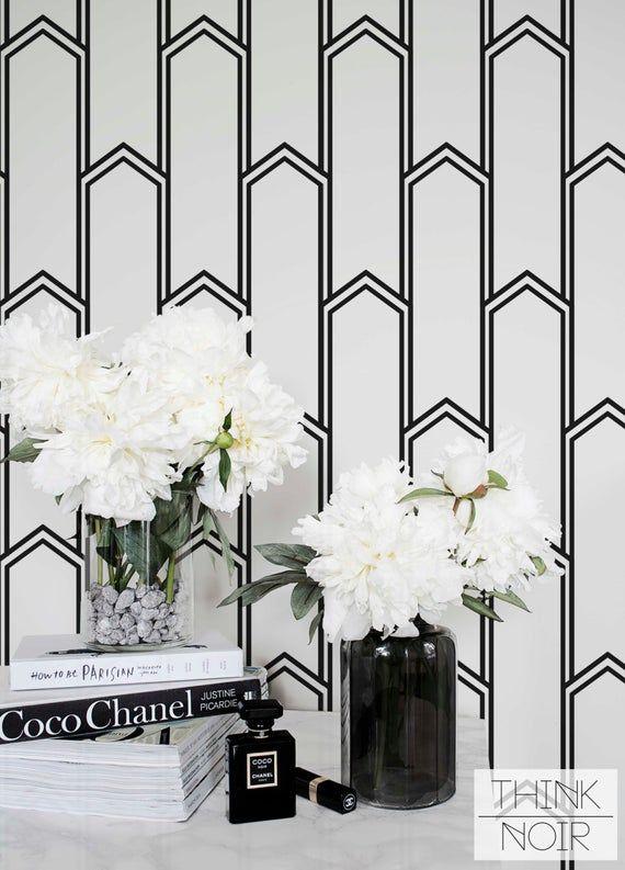 Minimalistic Art Deco Removable Wallpaper / Self Adhesive / Regular Wallpaper / Geometric Wall Mural   – Papier peint