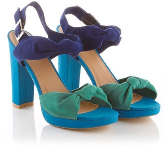 ShopStyle: Blue Colour Block Bow Heels