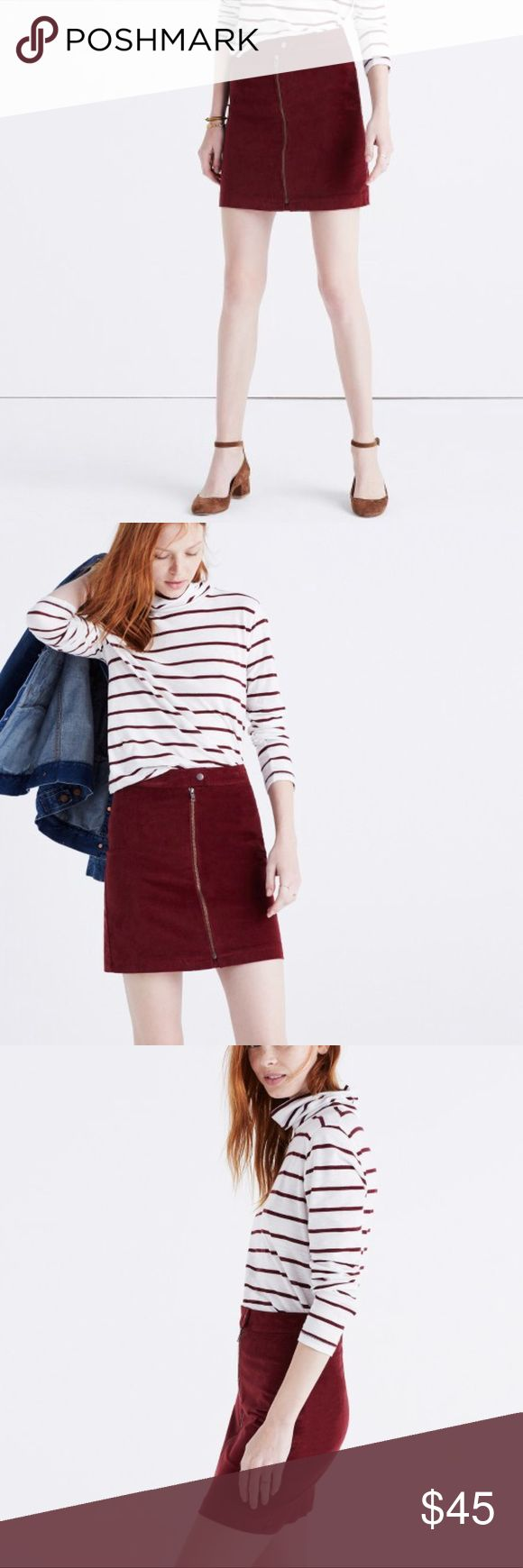 """Madewell Studio Zip Skirt in Velvet Burgundy Studio Zip Skirt in Velvet from Madewell in a size 00. Worn just a few times and in fantastic condition.  Totally on trend with a great pair of boots and a chunky sweater. 17 3/4"""" Long Madewell Skirts Mini"""