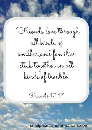 Proverbs 17:17 Friends love through all kinds of weather,and families stick together in all kinds of trouble. (The Message)