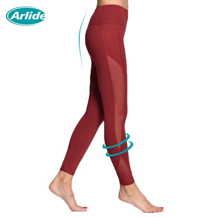 Arlide mujeres yoga pantalones de compresión mesh leggings pantalones medias elásticas sexy capri con bolsillo para gym workout yoga jogging ne-09
