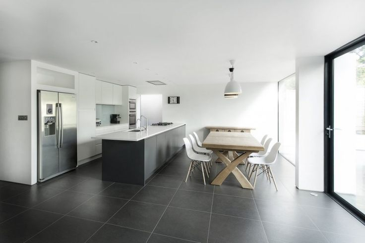 white and grey kitchen, family dining, open plan living, contemporary, monochrome interior tm_091013_04 » CONTEMPORIST