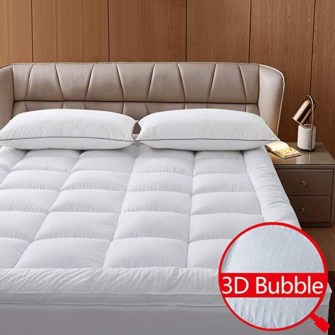 Naluka Mattress Topper King Featherbed 3d Bubble Microfiber Mattress Pad With Deep Pocket Extra Thick 2r Cooling Mattress Pad Mattress Pad Mattress Pad Cover