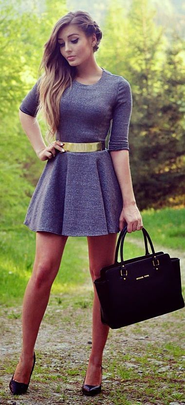 Women's fashion | Flattering grey skater dress with golden belt