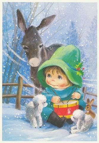 What a beautiful Christmas card ! The Little drummer boy, another Christmas miracle story <3 I love the Donkey's eye lashes ~ Ariane