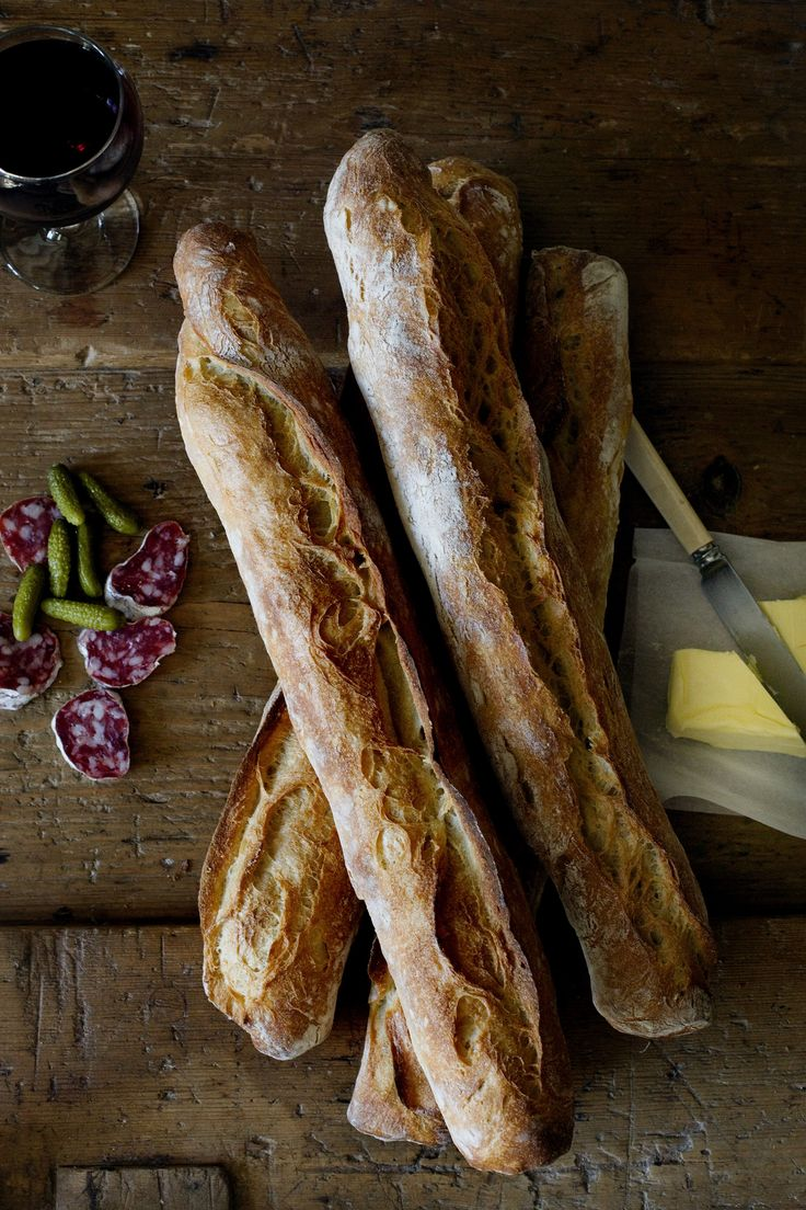 saucissons secs, pickles and butter with baguette bread