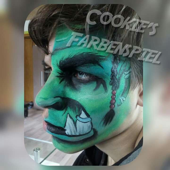 World of Warcraft Orc Face Painting, inspiered by Olga from @international Face Paint School. Halloween, Fantasy, Kinderschminken