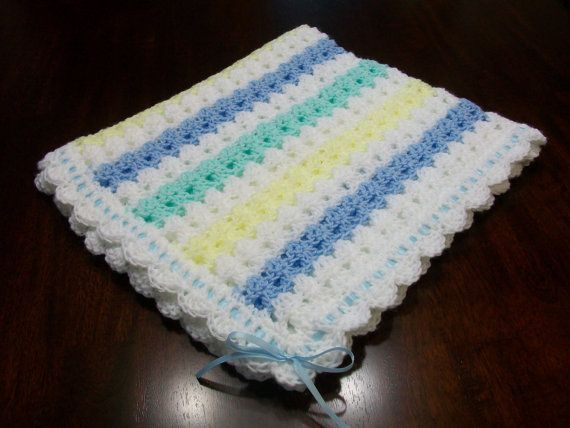 Crochet Baby Blanket Set Blue Yellow Green by BabyHatsShoesandMore
