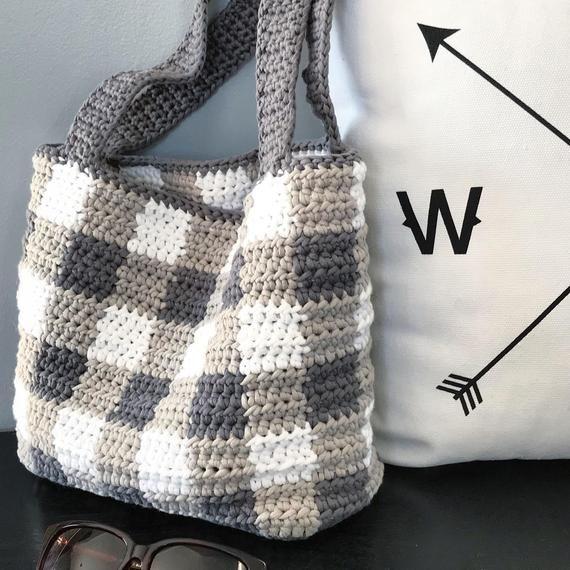 Crochet Pattern The Aislinn Plaid Tote Crochet Bag Pattern Easy