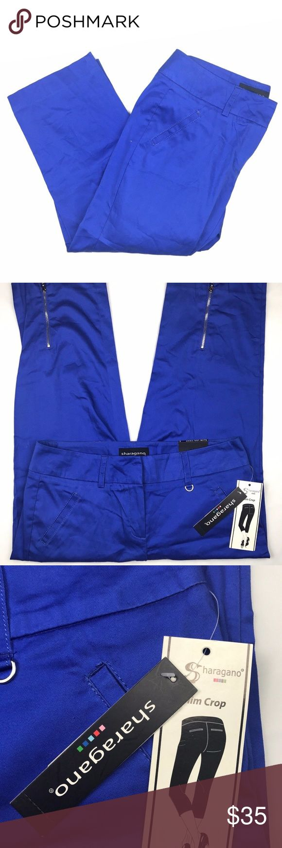 Sharagano Size 8 Slim Leg Blue Chino Crop Pants Sharagano Size 8 Slim Leg Crop Sits Below the Waist Blue Chinos Women's Pants. Zippers at ankles. New With Tags. 97% Cotton 3%Spandex Original price: $70 Sharagano Pants Ankle & Cropped