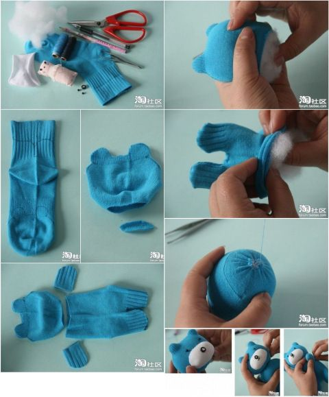 cute  sock animals diy | 4606_how-to-make-teddy-bear-from-sock