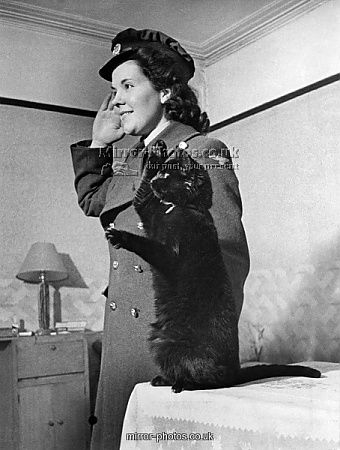 Smoky the cat saluting, February 1943. In 1940 Smoky the cat was rescued after an air raid during blitz. Miss Ann Twynam of Paddington took him home, and nursed him back to health. She has taught Smoky to salute, and now whenever service friends visit, Smoky loves to do his saluting turn, pictured 3rd February 1943. Battle of Britain collection.