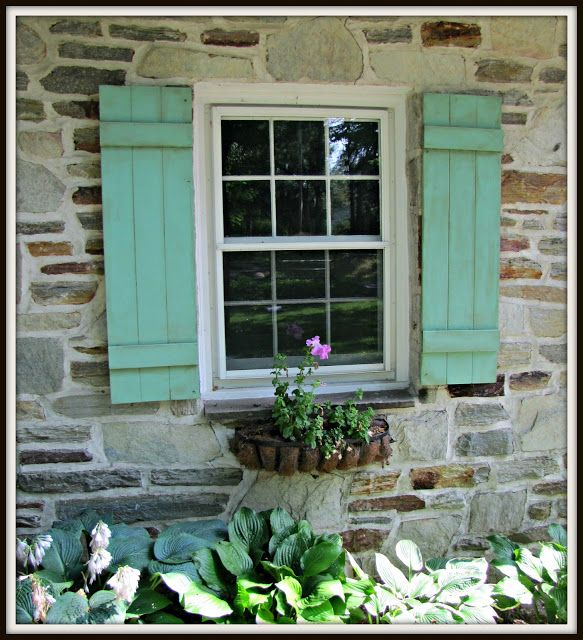 Flea Market Fabulous house tour - you dont want to miss this!   she made these shutters to mimic weathered copper!