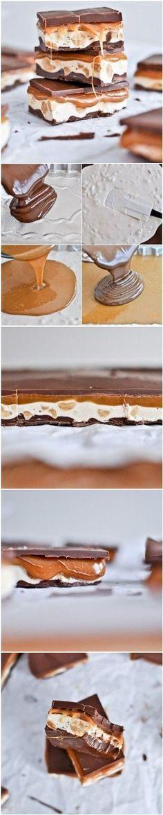 homemade snickers bars I howsweeteats.com @howsweeteats