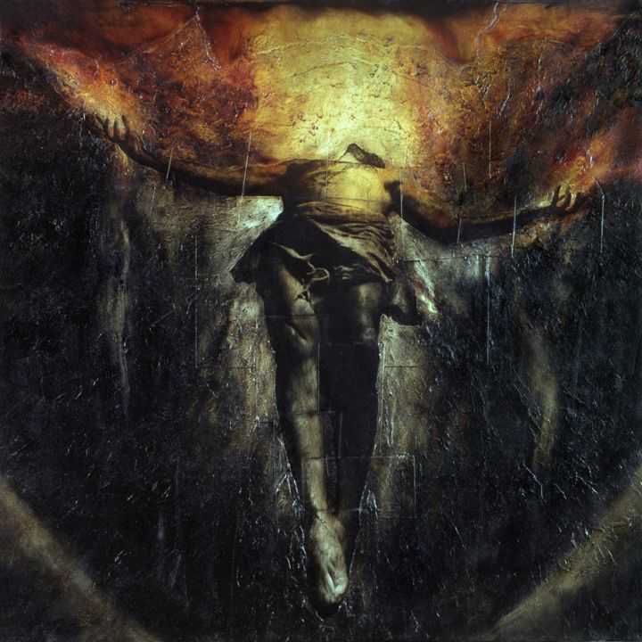 """Jesus Dies Alone - From Tributes for Kings   Mixed media oilgraph on canvas with blood. 36""""x36"""""""