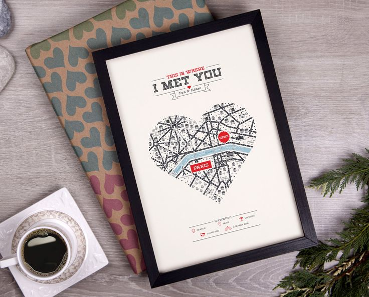 Personalized Map Anniversary Gift Heart Wedding Present Paper For Her Him