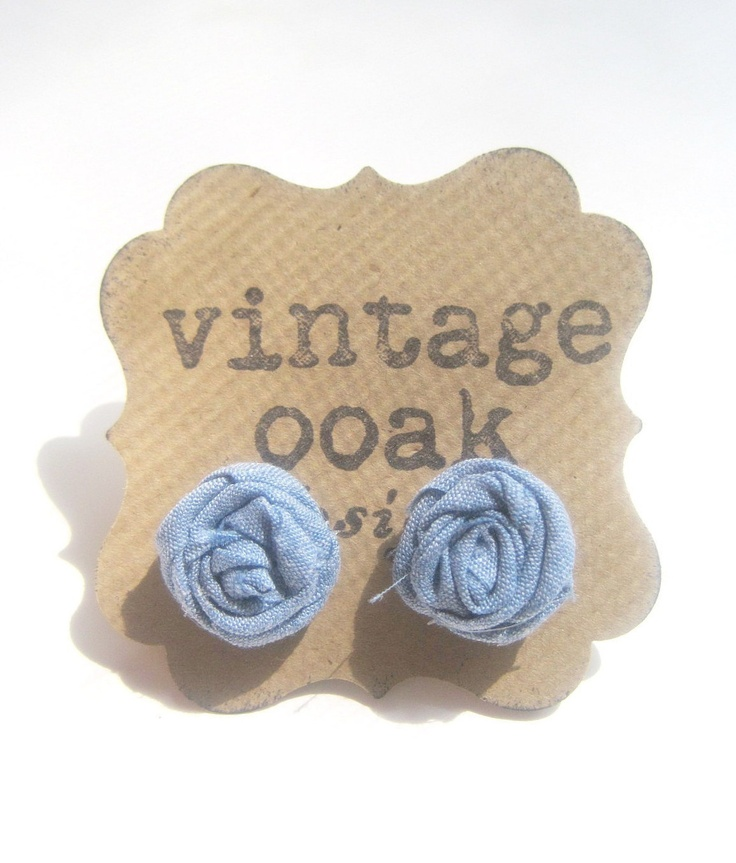 Denim Rosette Earrings  -- Sweet Jean Denim Earrings -- Summer Fashion 2012. $6.50, via Etsy.