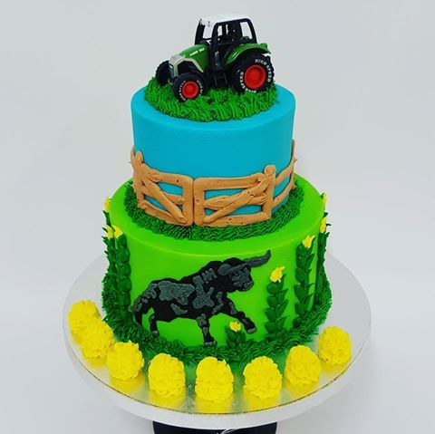 Two tier farm cake with Tractor and Bull