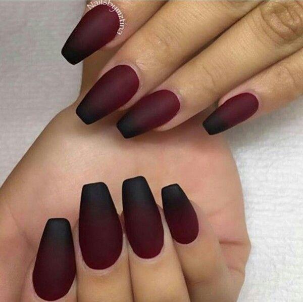 Wine red dip dyed black matte nails