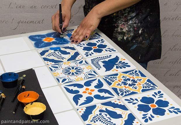 Before and After - How To Stencil A Mexican Talavera Tile Table - Latin America Inspired Painted and Stenciled Furniture