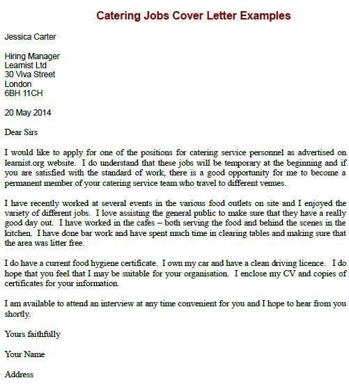 waiter job application Sample Cover Letter Job Application, chef | Job Application Letter ... #sampleResume #FreeResume