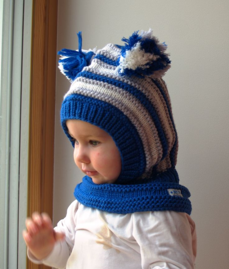 Waldorf inspired winter and snow hat. Hand knitted hoodie / balaclava hat for baby, toddler, child. Made from 100% merino wool in royal blue, grey and white. Soft and very functional - perfect to keep the little ones warm and cozy during cold days           Size: 6-12 Months  1-3 Years  3-6 Years 6-10 Years           Price: 39$
