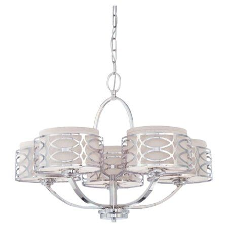 Create an inviting ambiance in the entryway, brighten your master suite, or add a shimmering touch to your parlor with this lovely 5-light chandelier, showcasing a geometric overlay and opaque drum shades.