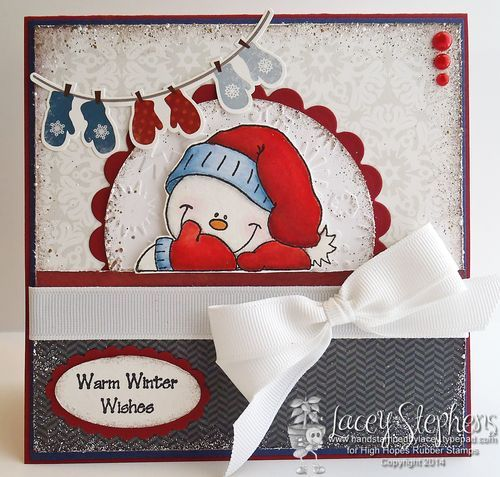 Christmas card using Frosty Snowman from High Hopes Rubber Stamps. http://handstampedbylacey.typepad.com/my_weblog/2014/11/high-hopes-challenge-winter-mittens.html