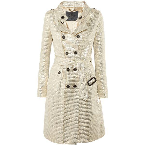 Burberry Prorsum Metallic jacquard trench coat ($2,525) ❤ liked on Polyvore