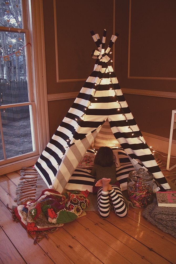 love the crayons in the big cookie jar//the big comfy floor pillow inside teepee.