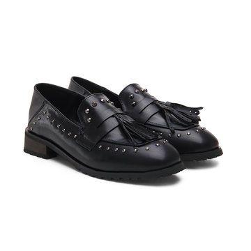 Black Soft Leather Look Tassel studded Slip-on Loafers - US$43.95 -YOINS