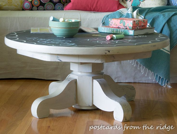 Lovely Chalkboard Painted Pedestal Coffee Table Inspired By Pottery Barn