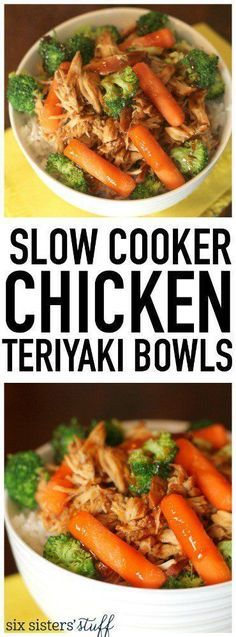 Slow Cooker Chicken Teriyaki Bowls from http://SixSistersStuff.com. These are healthy, easy, kid-approved and so delicious!