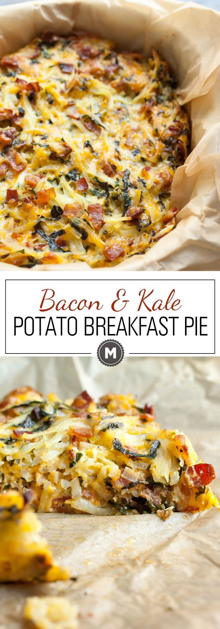 Potato Breakfast Pie with Bacon and Kale: An all-in one Brunch masterpiece, this pie is everything you want in a breakfast dish. Shredded potatoes, bacon, veggies, and just enough cheese and egg to hold it together. Make it, eat it, freeze any leftovers! | macheesmo.com