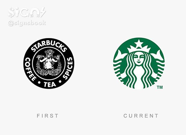Famous Logos Then And Now: Starbucks  Follow @signsbook  Tag your photos with #signsbook to get featured  #Starbucks #coffee #signsbook #design #logo #symbol #designer #illustration #photoshop #typography #brand #branding #graphicdesigner #ideas #logotype #marketing  If you are the owner of a file in this post and there was a copyright infringement please report it to @signsbook