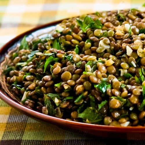 Lebanese Lentil Salad with Garlic, Cumin, Mint, and Parsley