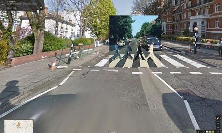 Obaly hudebních alb na snímcích z Google Street View