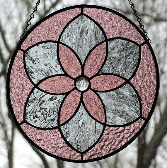 Pale Purple and Gray Round Stained Glass Mandala Suncatcher