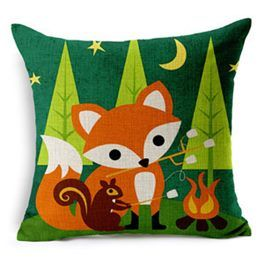 Cute and fabulous fox cushion covers  lovely cotton linen fabric  43cm x 43cm  hidden zip to open  there a few fox designs in this range so please check out my ...