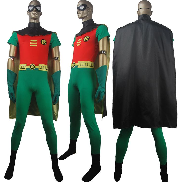 Unisex DC Comics superhero Robin suit Teen Titans Go! cosplay costume outfit halloween costume shirt-like top cape xmas birthday gift toys