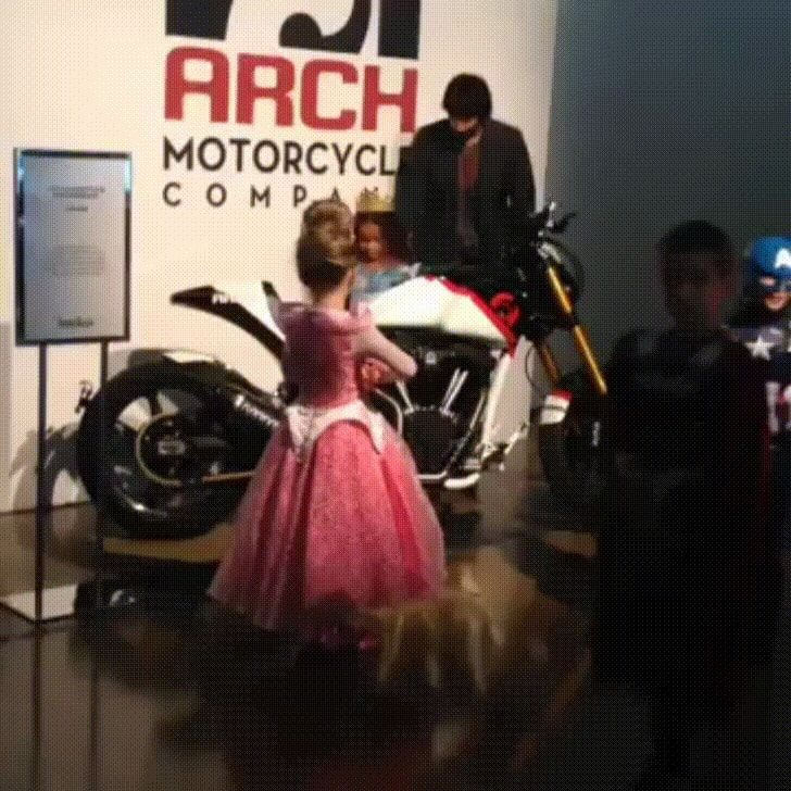 Click to see GIF Keanu Reeves helping girl in Cinderella dress onto motorcycle on Funny Goblin, the best creative humor community to search and share your favorite funny pictures, memes, gifs, jokes, humour pics, videos on internet.