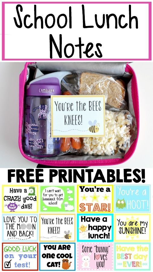 Make your kid's day with these free printables! Easy to print out and slip into his lunch!