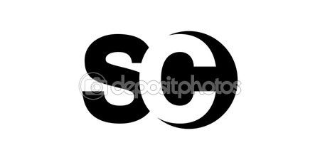 Monogram negative Space Letter Logo sc , s c — Stock Illustration #94550522