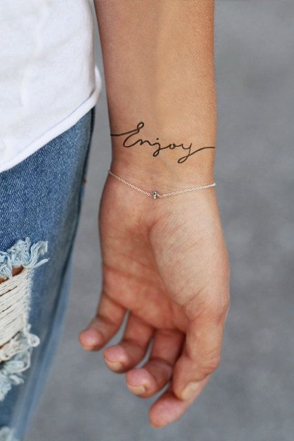 Temporary wrist tattoo 'Enjoy' van Tattoorary op Etsy, $6.00