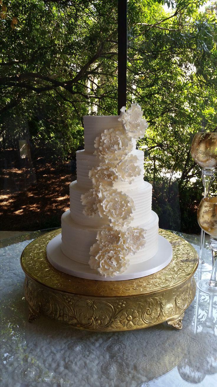 rustic spatula line wedding cake with sugar peonies
