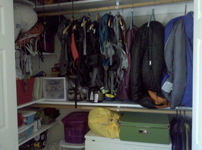 64 best images about gear closets on pinterest storage Ideas for hanging backpacks