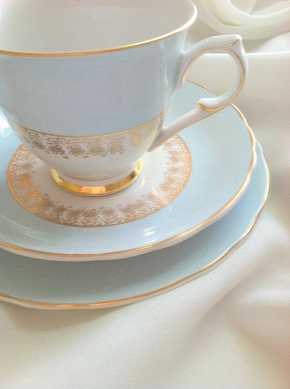 Antique Foley Chateau Blue Bone China Tea Cup, Saucer and Plate/Bridal Gift/Wedding Shower - Ca. 1960's on Wanelo
