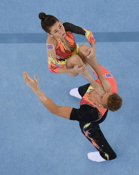 Hannah Baughn and Ryan Bartlett of Great Britain   compete in the Gymnastic Acrobatic Mixed Pair Dynamic Qualification  during day five of the Baku 2015 European Games at the National Gymnastics Arena on June 17, 2015 in Baku, Azerbaijan.