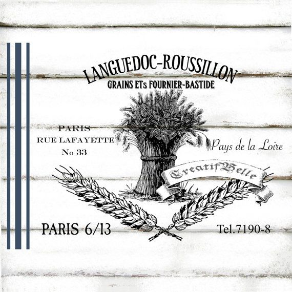 French Vintage Grain Sack Large A4 Instant Digital Download Printable Graphic Transfer Wheat Paris Image Decoupage